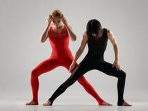 Duet of flexible gymnasts Stock Image