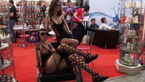 Two slim sexy brunette in black lingerie. stock video footage