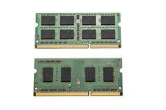 Two slots of RAM isolated on white background Stock Image