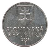 Slovak koruna coin. Two Slovak koruna with the image of the coat of arms isolated on a white background Royalty Free Stock Image