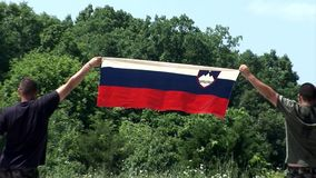Two Slovenian supporters raise a flag high in the air stock footage