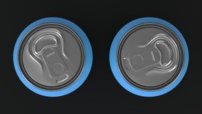 Two small blue aluminum soda cans mockup on black background. Tin package of beer or drink. 3D rendering illustration Royalty Free Stock Image