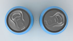 Two small blue aluminum soda cans mockup on white background. Tin package of beer or drink. 3D rendering illustration Stock Photo