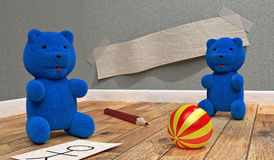Two small blue bears. Playing in a bedroom with a ball, a pencil, and sheets of papers Stock Images