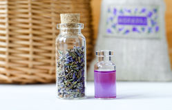 Two small bottles with dry lavender buds and aroma oil perfume, tincture, extract, infusion. Aromatherapy ingredients. Royalty Free Stock Photos