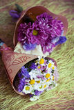 Two small bouquet. Two mini-bouquet of purple and white flowers Stock Images