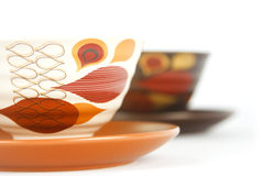 Two small bowls with plates. On white background royalty free stock photos