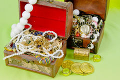 Two small boxes with treasures Stock Photo