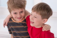 Two small boys best friends. Royalty Free Stock Photo