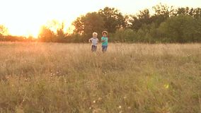 Two small boys run across field at sunset, slow mo stock footage