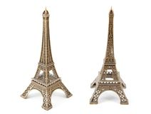 Two small bronze Eiffel Towers Stock Photography