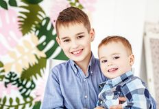 Two small brothers hugging and laughing. Children. The concept o. F family, childhood and education stock image