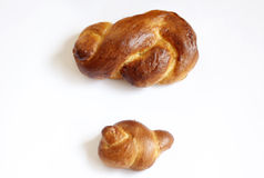Two small challah bread. Pair of small challot used for Kidush on the shabbat day royalty free stock photography