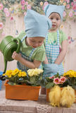 Two small charming twins girls take care of flowers, Stock Photography