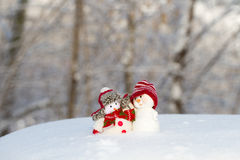 Two small cheerful snowman Royalty Free Stock Images