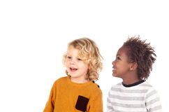 Two small children laughing Royalty Free Stock Photos
