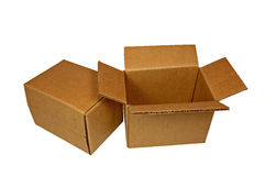 Two Small Corrugated Shipping Cartons. Shipping cartons isolated on white background Royalty Free Stock Photography
