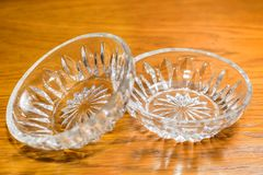Two Small Crystal Vases Close-up Stock Images