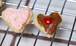 Two small cute adorable heart Valentine cookies. One in pink fro stock images