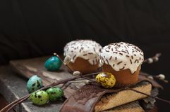 A two small Easter cake and dyed quail  eggs, and a willow twig on a dark wooden background. A two small Easter cake and dyed quail eggs, and a willow twig on a Stock Photos