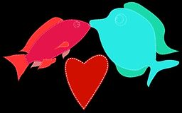 Two small fish, red and blue, with a white stitch and kiss. Next to a red heart on a black background. Marine love. Vector illustration Stock Photo