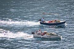 Two fishing boats, Makarska, Croatia royalty free stock images
