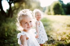 Two small girl friends or sister standing in sunny summer nature. Two small girl friends or sister standing in sunny summer nature, holding hands stock image