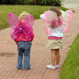 Two small girls wearing butterfly costume wings. Little sisters wearing butterfly custome wings standing and looking for something in a path at the park royalty free stock photos