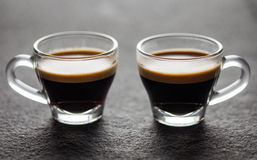 Two small glasses of fresh espresso Stock Image