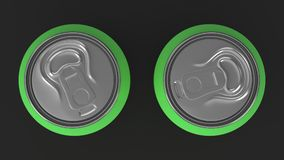 Two small green aluminum soda cans mockup on black background. Tin package of beer or drink. 3D rendering illustration Royalty Free Stock Images
