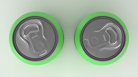 Two small green aluminum soda cans mockup on white background. Tin package of beer or drink. 3D rendering illustration Royalty Free Stock Photos