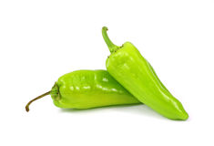 Two Small Green Hot Peppers Stock Photography