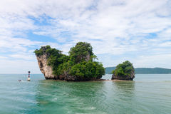 Two small green islands off Krabi, Thailand Stock Images
