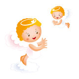 Two small happy angels Royalty Free Stock Image