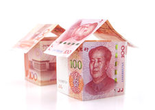 Two small house constituted by banknotes Royalty Free Stock Images