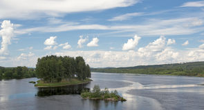 Two Small Islands On A River Royalty Free Stock Image