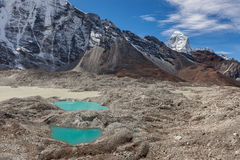 Two small moraine lakes of turquoise color and. Stock Photo