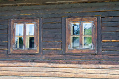 Two small old style window Royalty Free Stock Photos