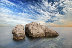Two small rock in the sea Royalty Free Stock Photos