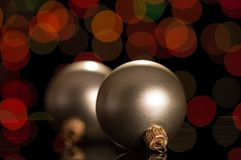 Two small silver balls to decorate the New Year tree Stock Images