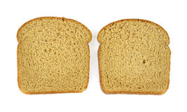 Two small slices of wheat bread Stock Photos