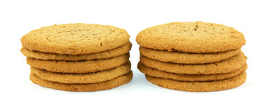 Two small stacks of cookies Royalty Free Stock Photos