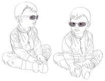Pt-Small twins boys in sunglasses Royalty Free Stock Image
