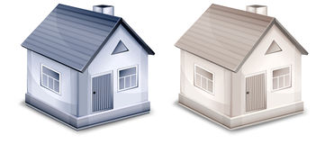 Two small village houses vector illustration