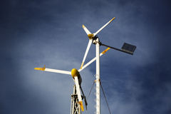 Two small wind turbines Royalty Free Stock Images