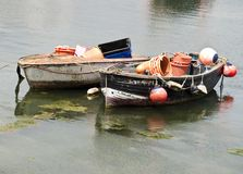 Two small wooden fishing boats Royalty Free Stock Image