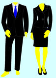 Two smart business suits, one male, one female. Two smart black suits worn for business. One male, with a blue tie, and one female, with a fitted jacket and vector illustration