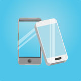 Two smart phone icons on a blue background Stock Photo