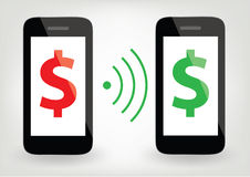 Two smart phones with dollar signs and wireless symbol Royalty Free Stock Images