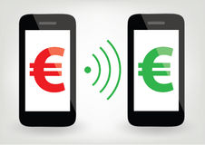 Two smart phones with euro signs and wireless symbol Stock Images